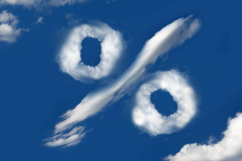 percentage symbol in the clouds for the refi boom